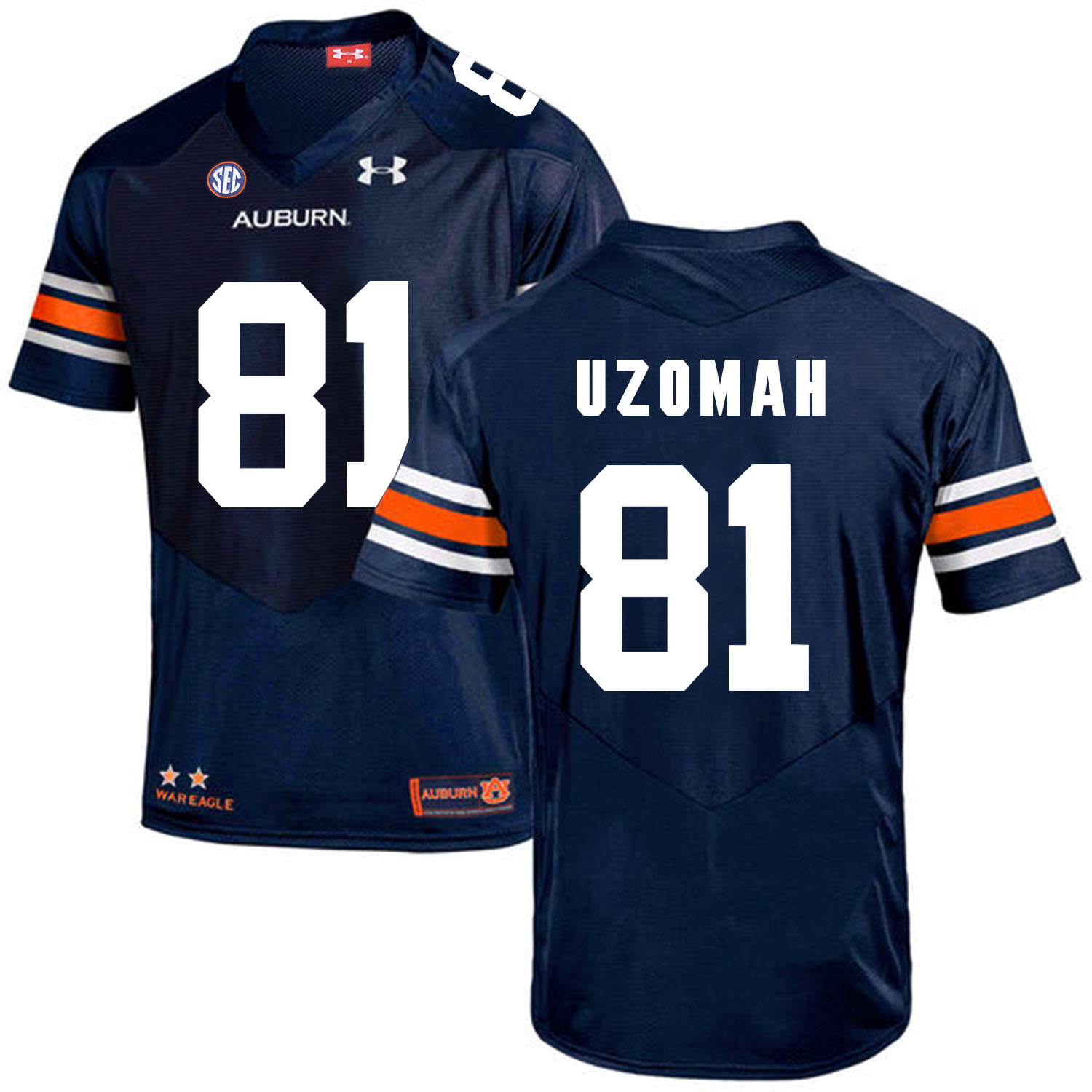 Auburn Tigers 81 C.J. Uzomah Navy College Football Jersey