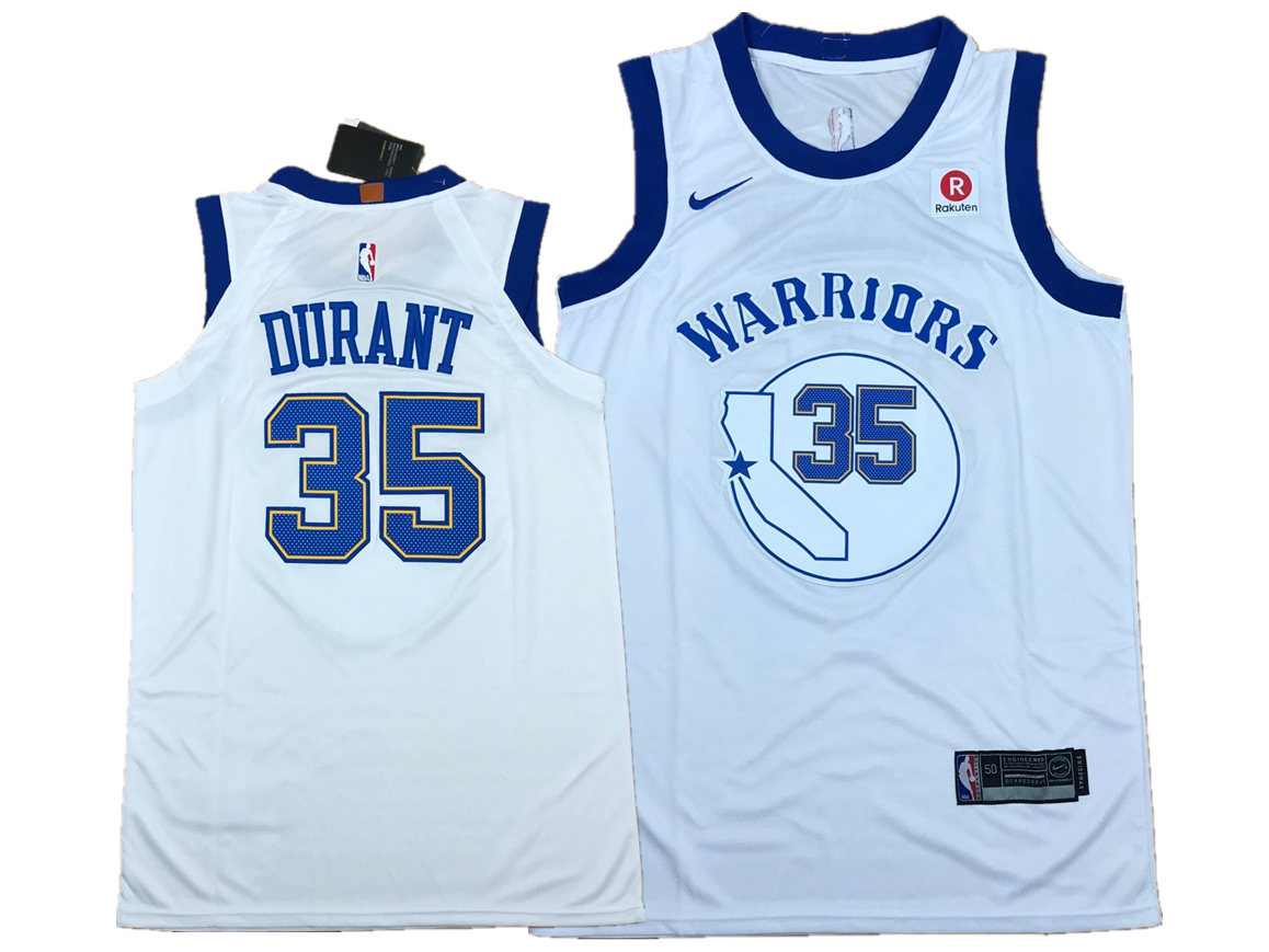 Warriors 35 Kevin Durant White Fashion Current Player Hardwood Classics Nike Authentic Jersey