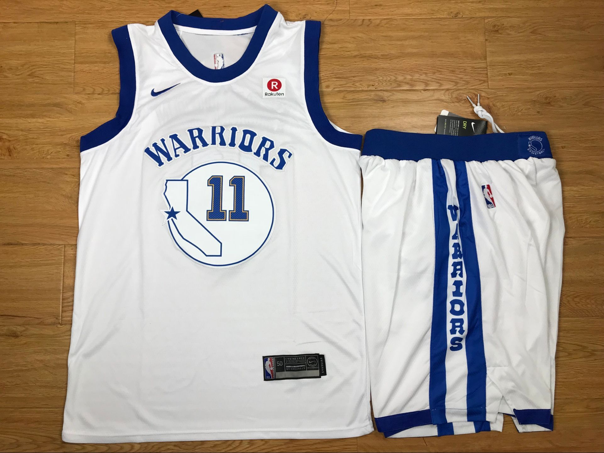 Warriors 11 Klay Thompson White Fashion Current Player Hardwood Classics Nike Authentic Jersey(With Shorts)