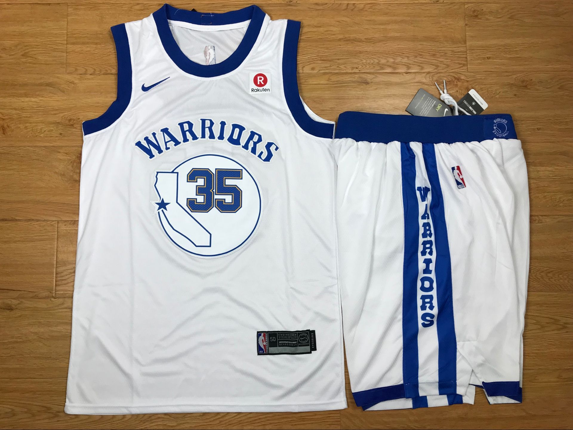 Warriors 35 Kevin Durant White Fashion Current Player Hardwood Classics Nike Authentic Jersey(With Shorts)