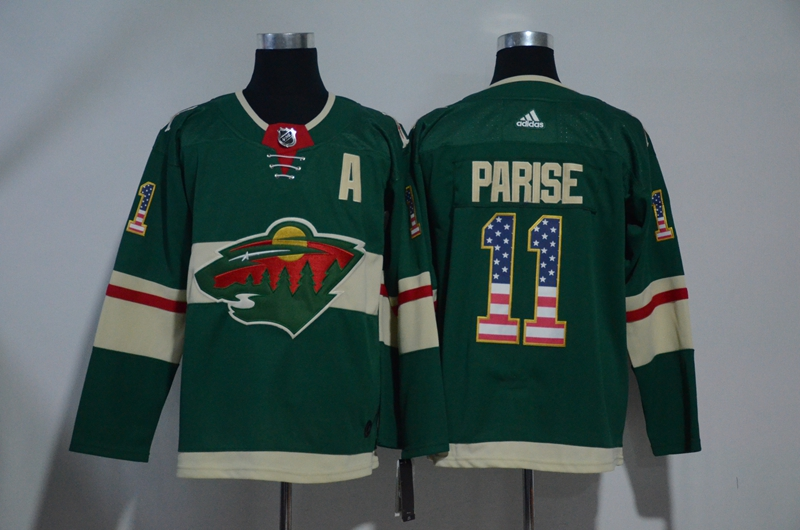 Wild 11 Zach Parise Green USA Flag Adidas Jersey