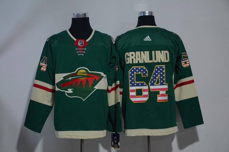Wild 64 Mikael Granlund Green USA Flag Adidas Jersey