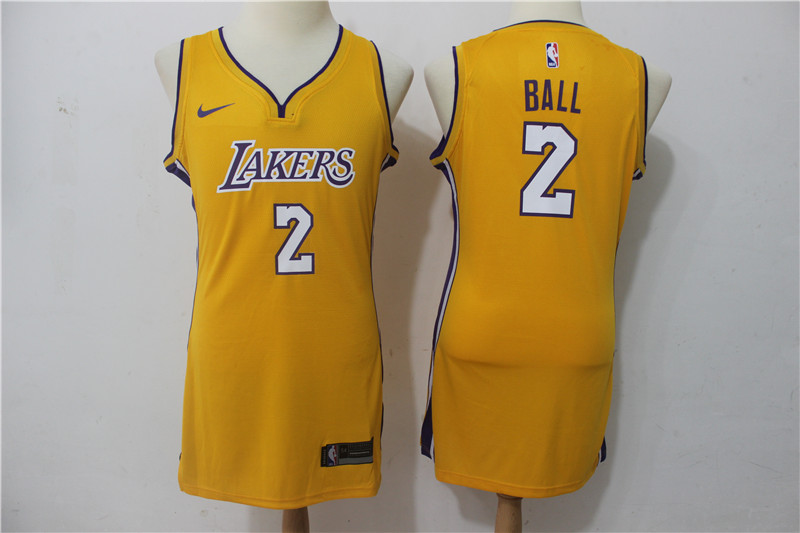 Lakers 2 Lonzo Ball Yellow Women Nike Swingman Jersey