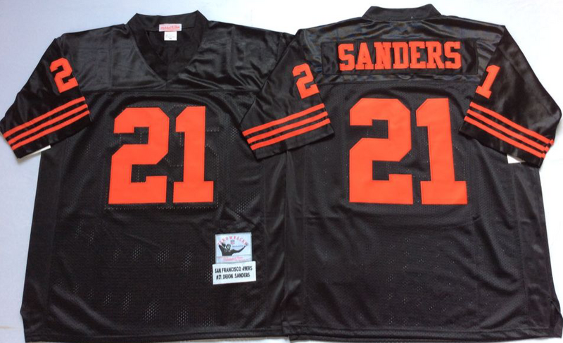49ers 21 Deion Sanders Black M&N Throwback Jersey