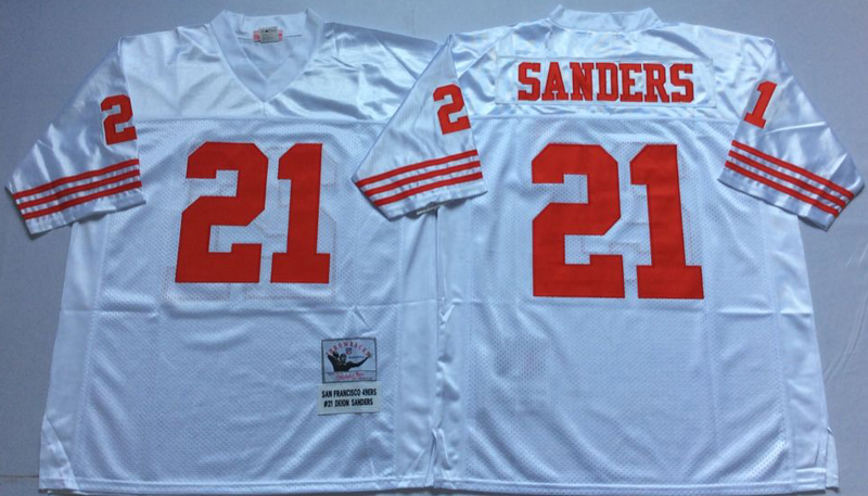 49ers 21 Deion Sanders White M&N Throwback Jersey