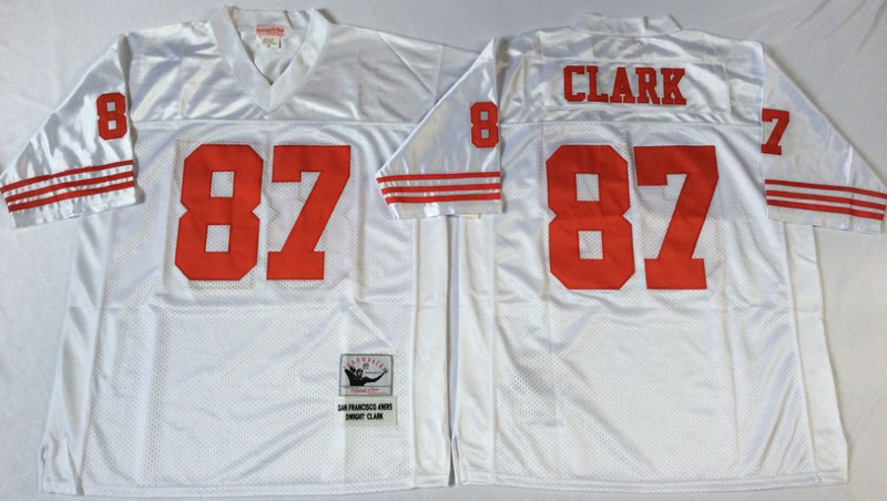 49ers 87 Dwight Clark White M&N Throwback Jersey