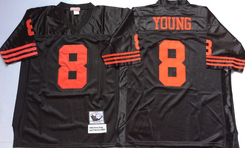 49ers Steve Young Black M&N Throwback Jersey