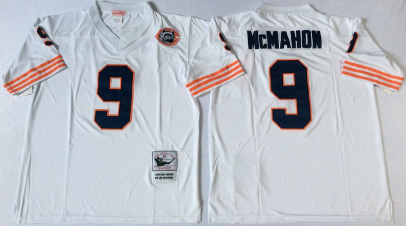 Bears 9 Jim McMahon White M&N Throwback Jersey