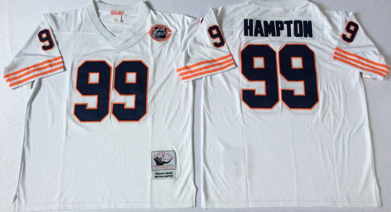 Bears 99 Dan Hampton White M&N Throwback Jersey
