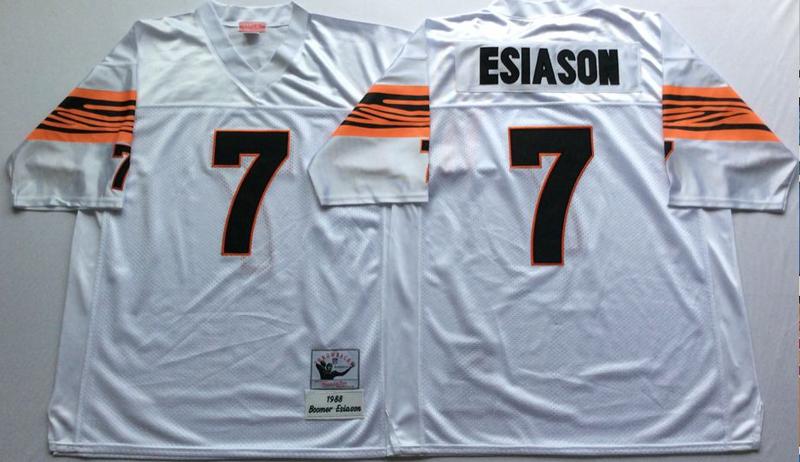 Bengals 7 Boomer Esiason White M&N Throwback Jersey