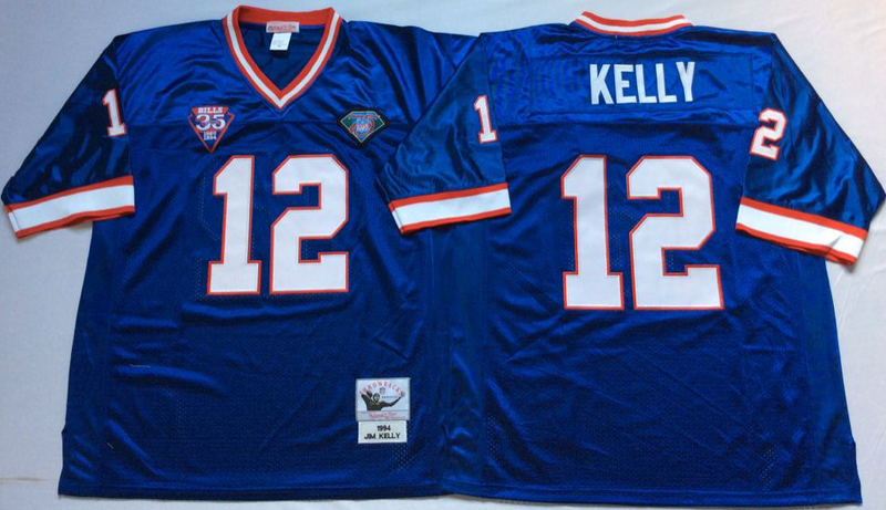 Bills 12 Jim Kelly Blue M&N Throwback Jersey