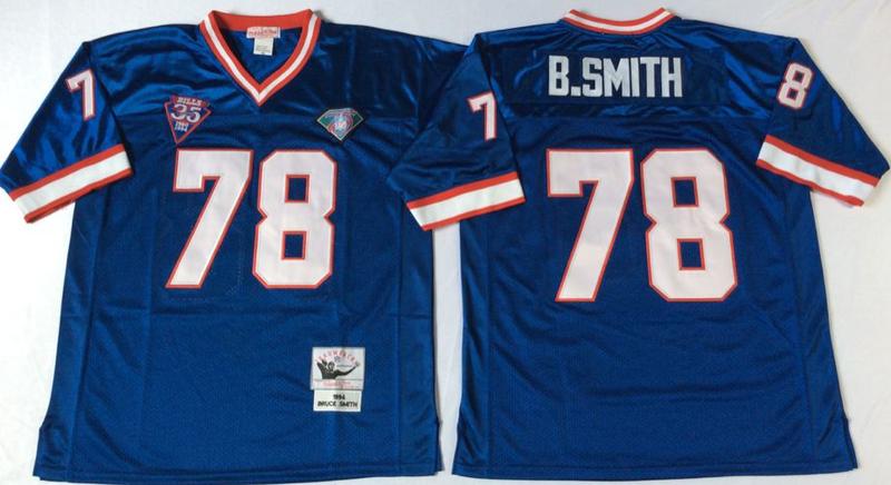 Bills 78 Bruce Smith Blue M&N Throwback Jersey