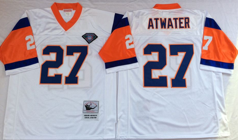 Broncos 27 Steve Atwater White M&N Throwback Jersey
