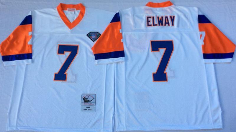 Broncos 7 John Elway White M&N Throwback Jersey