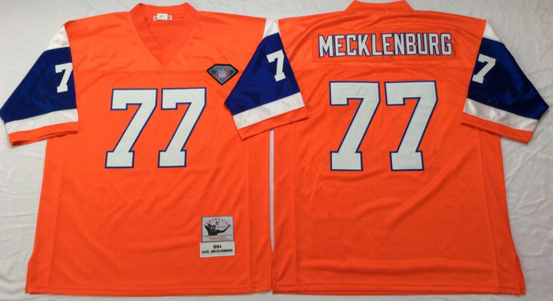 Broncos 77 Karl Mecklenburg Orange M&N Throwback Jersey