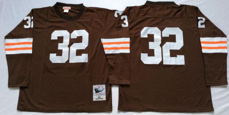 Browns 32 Jim Brown Brown Long Sleeve M&N Throwback Jersey
