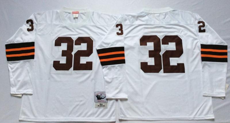Browns 32 Jim Brown White Long Sleeve M&N Throwback Jersey