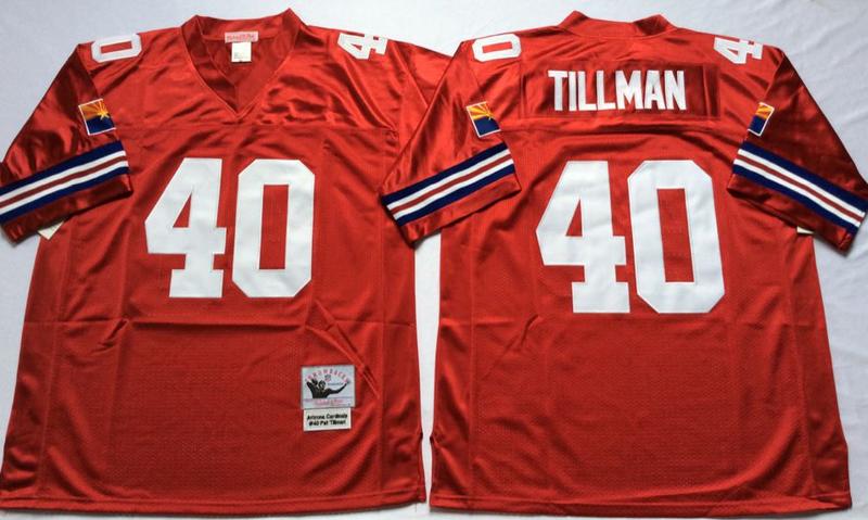 Cardinals 40 Pat Tillman Red M&N Throwback Jersey