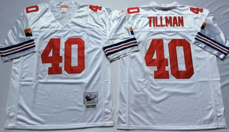 Cardinals 40 Pat Tillman White M&N Throwback Jersey