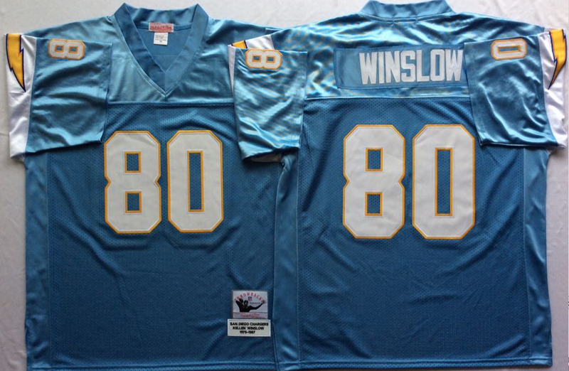 Chargers 80 Kellen Winslow Light Blue M&N Throwback Jersey