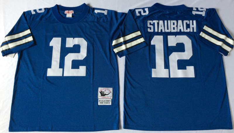 Cowboys 12 Roger Staubach Blue M&N Throwback Jersey