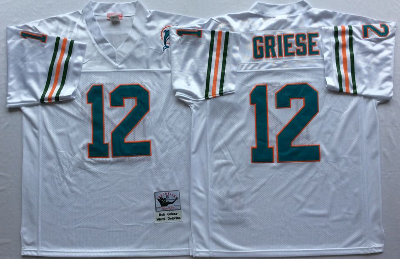 Dolphins 12 Bob Griese White M&N Throwback Jersey