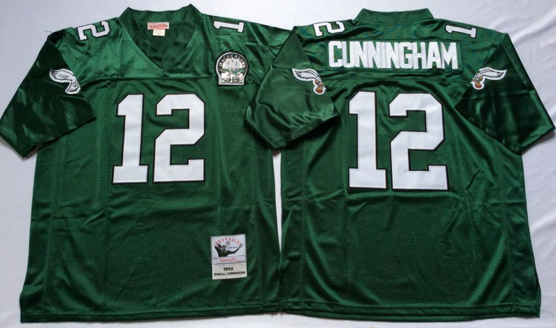 Eagles 12 Randall Cunningham Green M&N Throwback Jersey