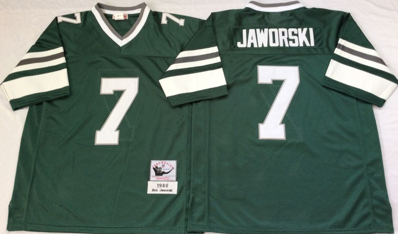Eagles 7 Ron Jaworski Green M&N Throwback Jersey