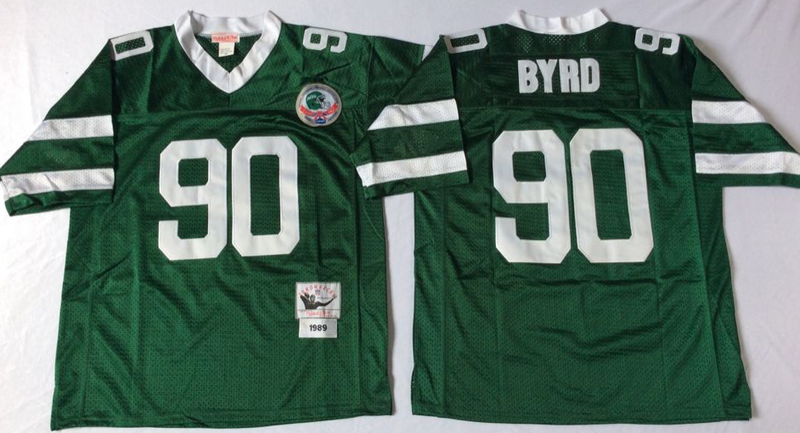 Jets 90 Dennis Byrd Green M&N Throwback Jersey
