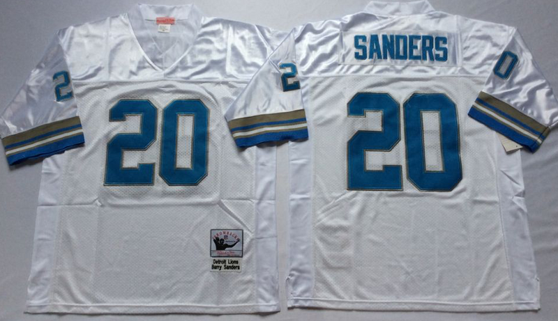 Lions 20 Barry Sanders White M&N Throwback Jersey