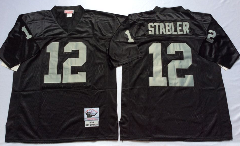 Raiders 12 Ken Stabler Black M&N Throwback Jersey