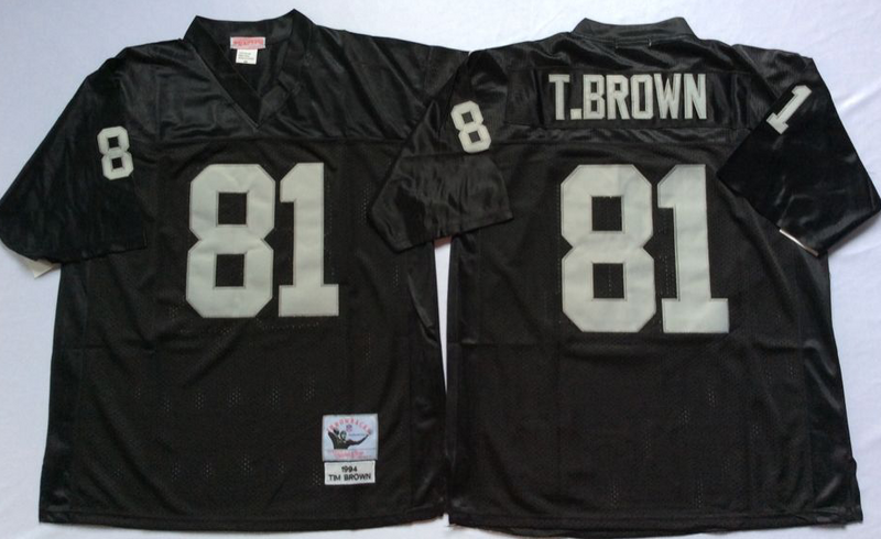 Raiders 81 Tim Brown Black M&N Throwback Jersey
