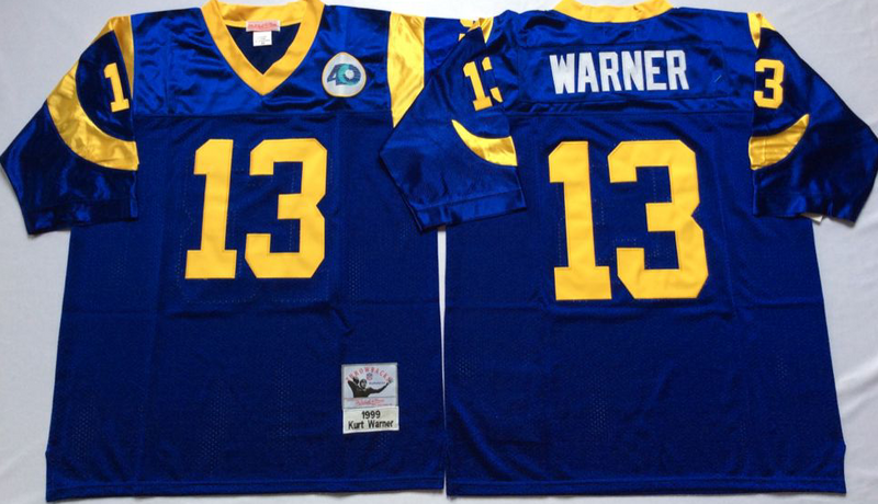 Rams 13 Kurt Warner Blue M&N Throwback Jersey