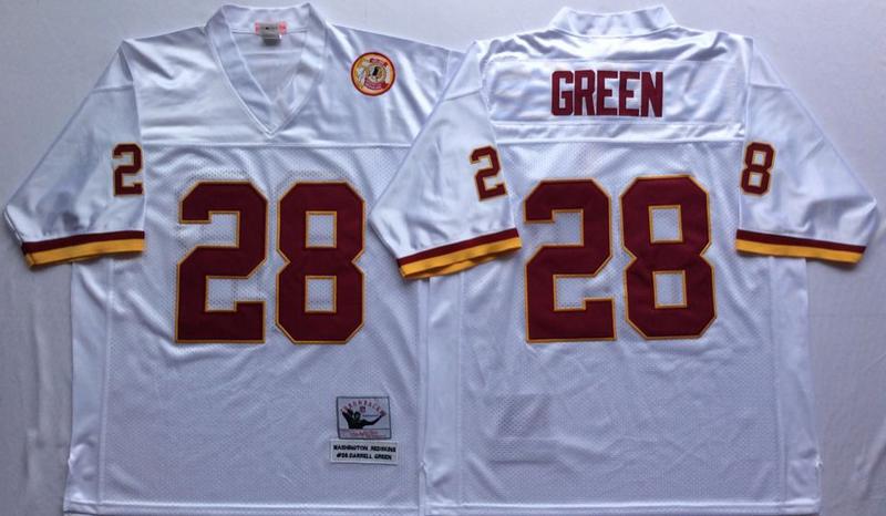 Redskins 28 Darrell Green White M&N Throwback Jersey