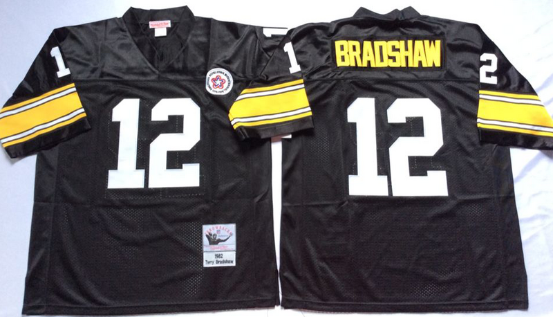 Steelers 12 Terry Bradshaw Black M&N Throwback Jersey