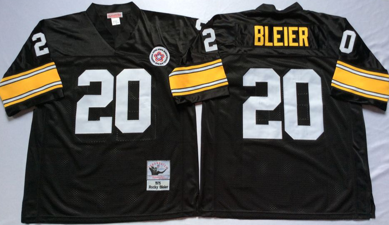 Steelers 20 Rocky Bleier Black M&N Throwback Jersey