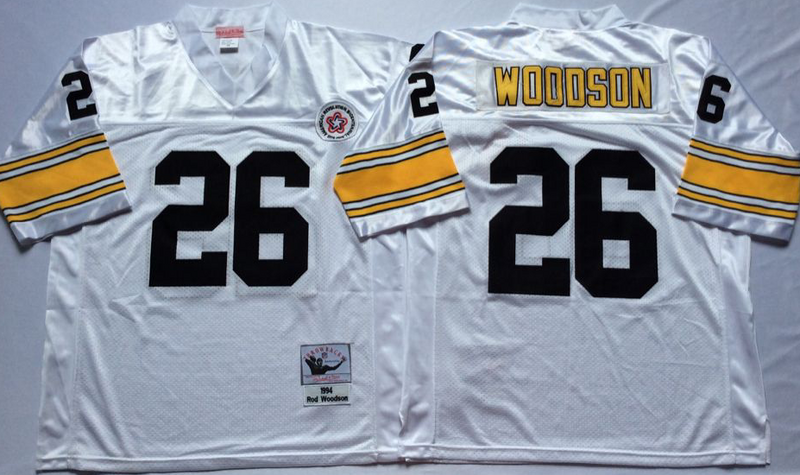 Steelers 26 Rod Woodson White M&N Throwback Jersey