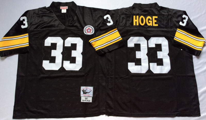 Steelers 33 Merril Hoge Black M&N Throwback Jersey