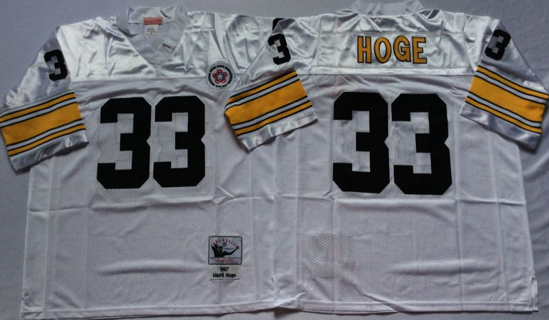 Steelers 33 Merril Hoge White M&N Throwback Jersey