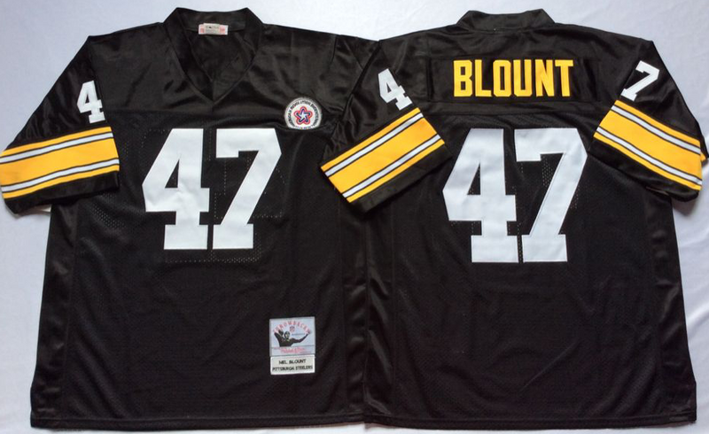 Steelers 47 Mel Blount Black M&N Throwback Jersey