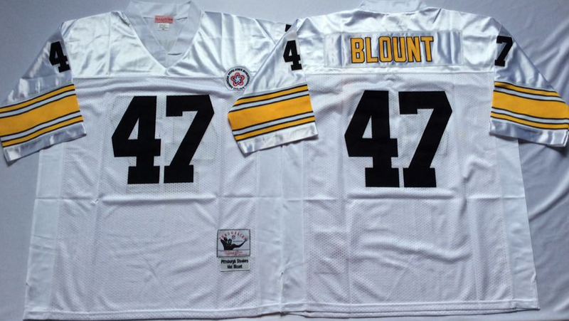 Steelers 47 Mel Blount White M&N Throwback Jersey