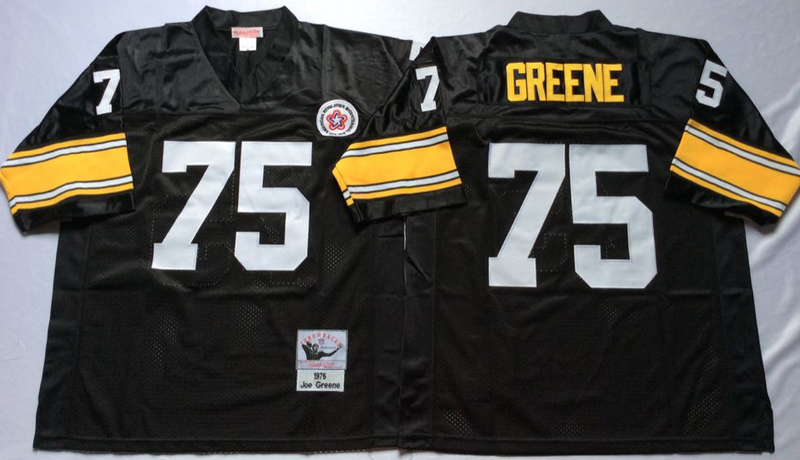 Steelers 75 Joe Greene Black M&N Throwback Jersey