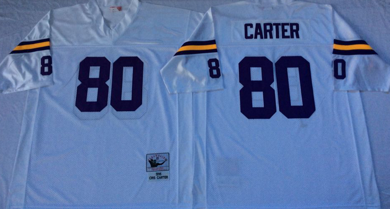 Vikings 80 Cris Carter White M&N Throwback Jersey