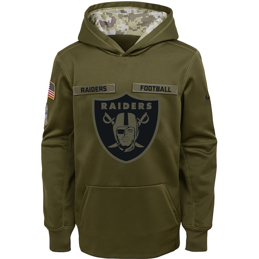 Oakland Raiders Nike Youth Salute to Service Pullover Performance Hoodie Green