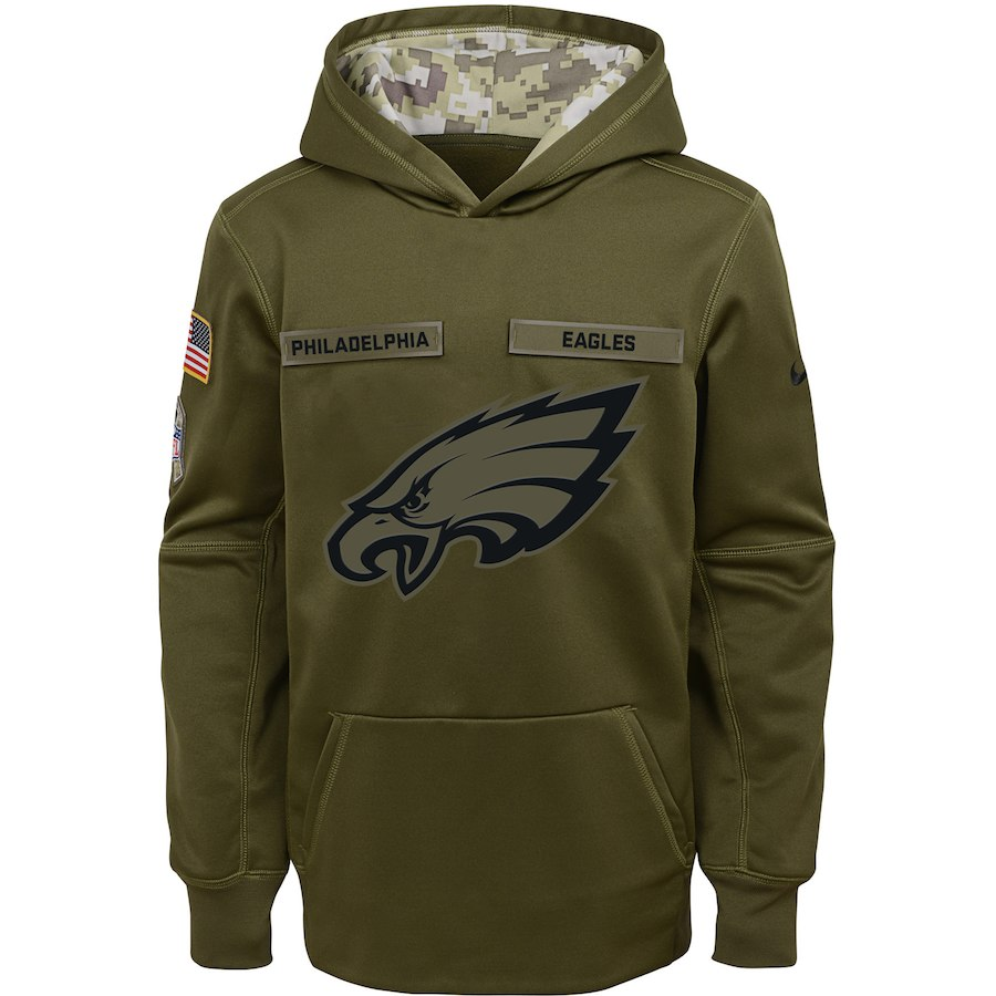 Philadelphia Eagles Nike Youth Salute to Service Pullover Performance Hoodie Green