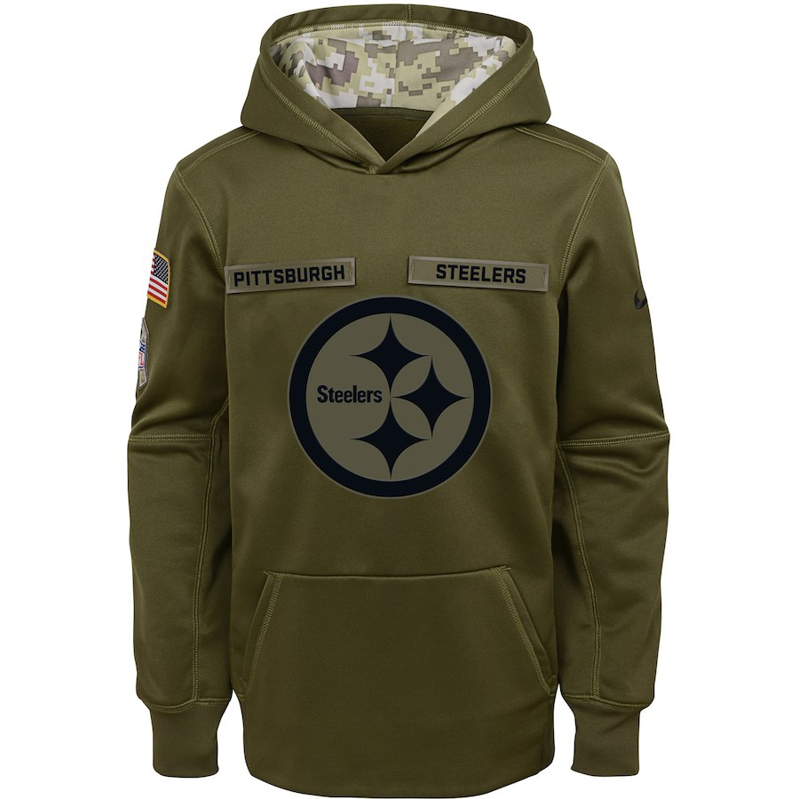 Pittsburgh Steelers Nike Youth Salute to Service Pullover Performance Hoodie Green