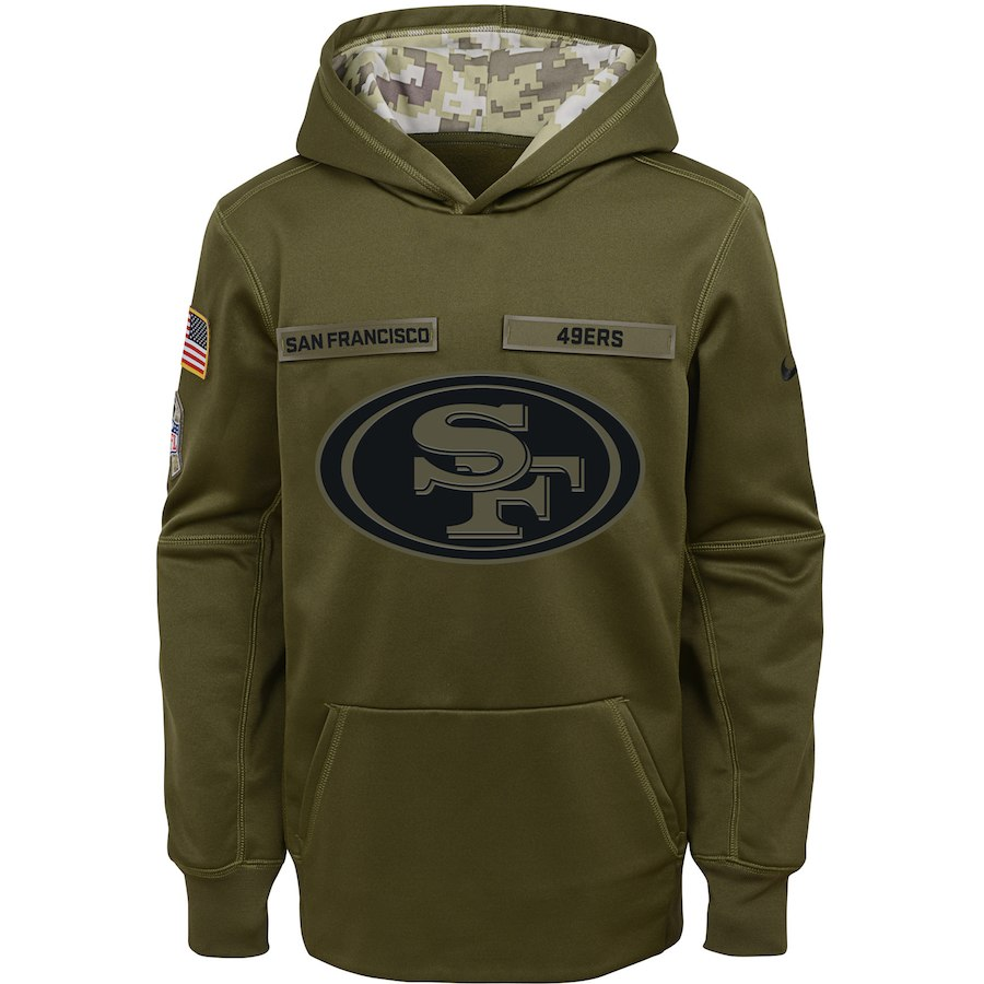 San Francisco 49ers Nike Youth Salute to Service Pullover Performance Hoodie Green