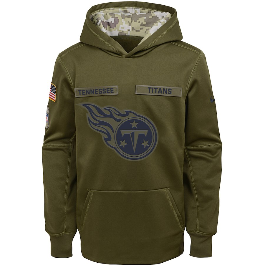 Tennessee Titans Nike Youth Salute to Service Pullover Performance Hoodie Green
