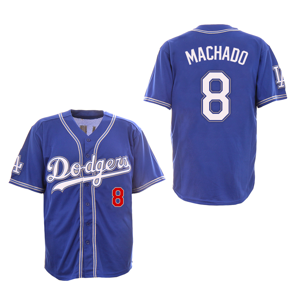 Dodgers 8 Manny Machado Royal New Design Jersey