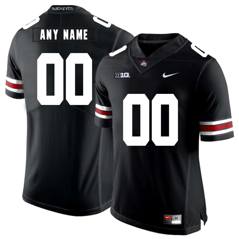 Ohio State Buckeyes Black Men's Customized Nike College Football Jersey